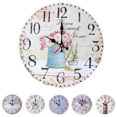 Vintage Wooden Wall Clock Large Shabby Chic Rustic Kitchen/Home Antique Style