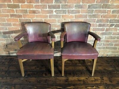 Pair of vintage midcentury red leather wooden carver style dining office chairs