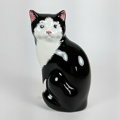 Cute Just Cats & Co Black & White Kitten Ornament Figurine Hand Painted Pottery