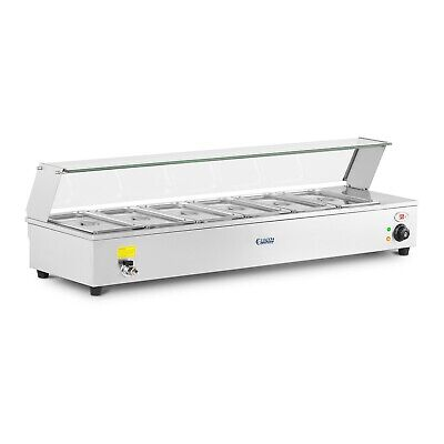 Electric Bain-Marie Food Warmer Buffet Server Sneeze Guard 6 GN 1/3 Containers