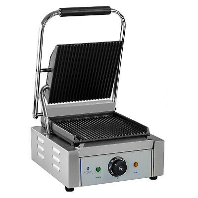 Electric Contact Grill Grooved Enamelled Cast Iron With Grease Tray - 1800 W New