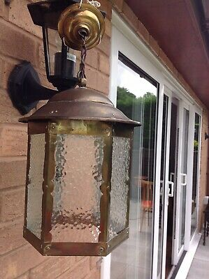 Vintage Brass & Frosted Glass Hexazonal Shaped Electric Lantern