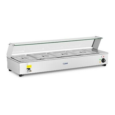 Electric Bain-Marie Food Warmer Buffet Server Sneeze Guard 4 Gn 1/2 Containers