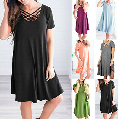805985c41580 Women Casual Solid Short Sleeve Lady Criss Cross T-Shirt Mini Dress With  Pockets