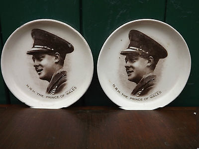 1920s Edward Prince of Wales pair of pin dishes - super portrait