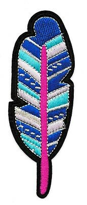 Patch écusson patche Plume thermocollant brodé badge couleurs