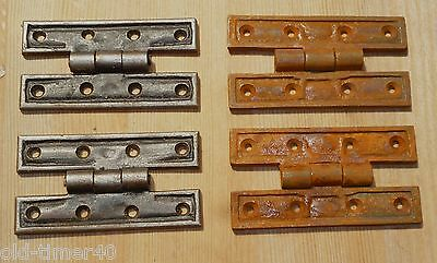 "Pair of Rustic Cast Iron H Hinges 90 x 48mm total size / 3.5 x 2"" CHOOSE FINISH"