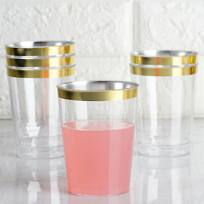 60 Packs Plastic Clear Cups Disposable Wine Cocktail Party With GOLD Rim Wedding
