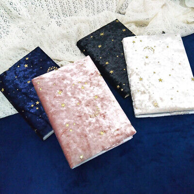 """Starry Night"" 1pc Beautiful Journal Notebook Diary Soft Velour Fabric Cover"