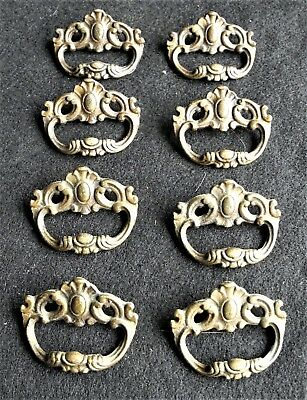"""Eight Antique Victorian Solid Brass Finger pull Drawer Hardware Unique 2"""" Across"""