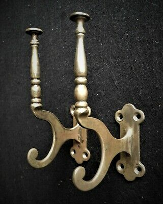 Two Vintage Solid Brass Hooks Wall Coat / Hat  Hangers