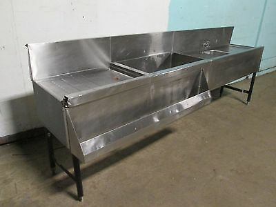 """PERLICK TS48HS"" COMMERCIAL SS BARTENDER STATION w/ICE BIN/WASH SINK/SPEED RAIL"