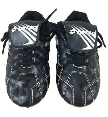 7aa0ceb60ad0 LOTTO SOCCER CLEATS Boy Girl Black Silver Childs Youth Size 13 ...