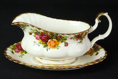 Royal Albert Old Country Roses Gravy / Sauce Boat & Stand 1962-73 1st Qualty VGC
