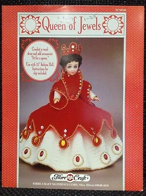 """FIBRE CRAFT CROCHET PATTERN No 246 QUEEN of JEWELS DRESS OUTFIT 15"""" DOLL NEW"""