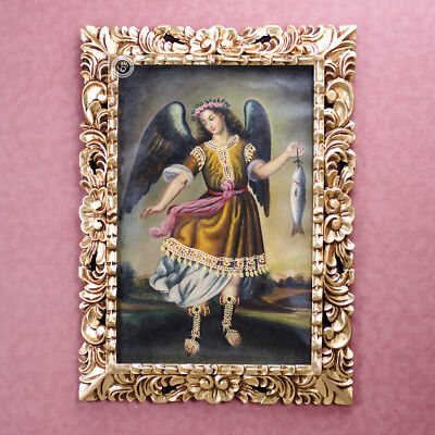 Colonial replica Painting from Peru 'Archangel Raphael'- Oil on canvas painting