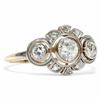 Antiker Trilogie Ring, 0,58 ct Altschliff Diamanten Platin Gold, um 1910