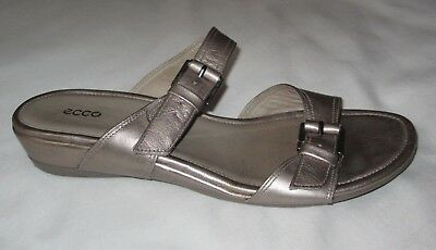 ae527446273a Ecco 39 Silver Sandal Leather Slip On Low Wedge Double Buckle Comfort Womens  8.5