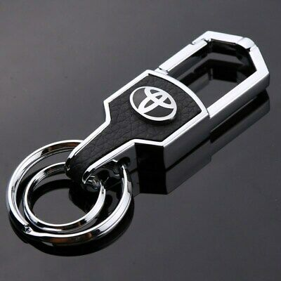 Car Styling Metal Leather Chrome Keyring Keychain Key Chain For Toyota US Seller