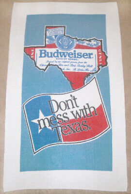 Vintage Beach Towel DON'T MESS WITH TEXAS BUDWEISER BEER Lone Star State Flag