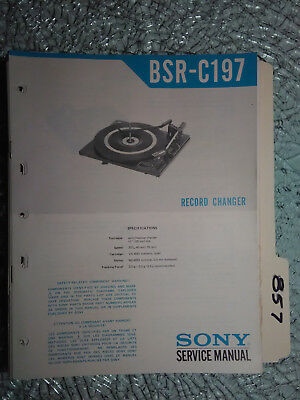 Sony bsr-c197 service manual original repair book stereo turntable record player