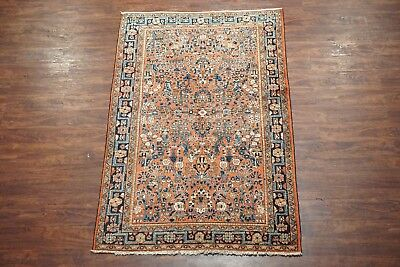 4X7 Antique Persian Sarouk Hand-Knotted Wool Area Rug, circa 1920 (4.3 x 6.9)