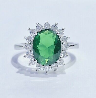 Sterling Silver Princess Diana Green Emerald Cz Oval Halo Ring 925 Size 7