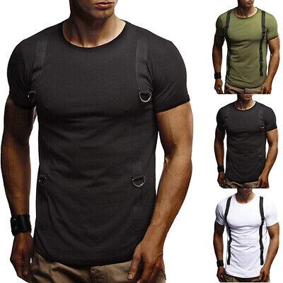 Men Tee Shirt Slim Fit O Neck Short Sleeve Muscle Casual Tops Shoulder T-Shirts