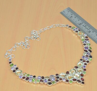 925 Silver Plated Natural Cut Red Garnet And Mix Multi Stone Necklace Vi982