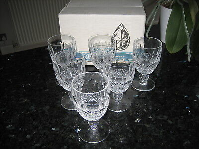 "Waterford Crystal Colleen Claret Wine Glasses 4 3/4"" Signed x 6 Boxed Ex.Con"