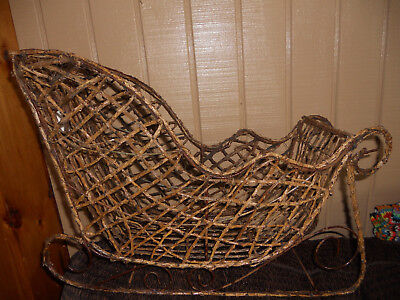 Big Wire/Twig Christmas SLED Sleigh Country/Farmhouse Decor* New