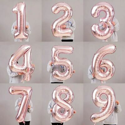 "32 40"" ROSE GOLD Giant Foil Number Balloons Party Decorations Birthday Age Party"
