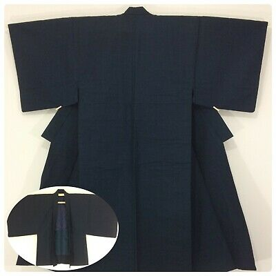 Japanese men's kimono & haori jacket set, medium, short, wool (O2558)