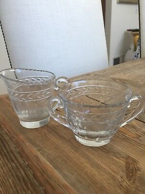 Antique Cut Glass Creamer & Sugar Bowl