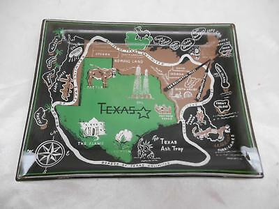 Old Vtg SMOKED BLACK GLASS TEXAS ASH TRAY Travel Souvenir Ashtray Advertising