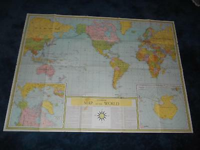 """Old Vtg Universal MAP OF THE WORLD Global Changes Since WORLD WAR II 49""""x36"""""""