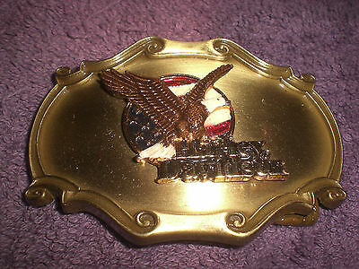 Harley Vintage 75Th Anniversary Enamel Eagle B&S 1978 Raintree Belt Buckle Flag