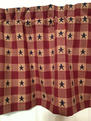 Primitive Burgandy Blue Rustic Country check stars Red Blue Valance Window 15x43