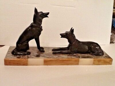 Large Art Deco  Pair of Alsation Dogs on a Marble Base
