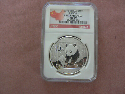 Silver Coin 2012 China Panda Early Releases $10 Yuan NGC MS69 1 Ounce