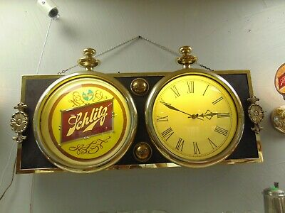 Vintage Schlitz Beer Light Wall Electric Bar Clock Clean Working and Complete!
