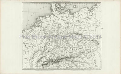 Antique Map Northern Europe Thiers 1864 Original