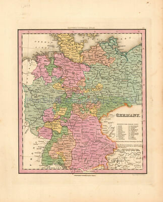 Germany Antique Map Tanner 1836 Original