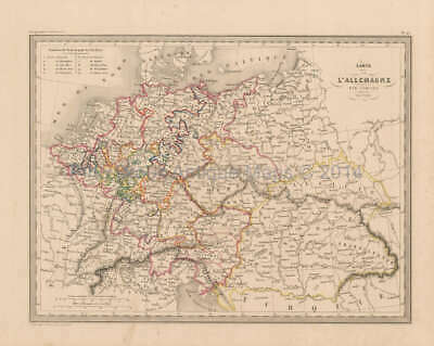 Germany Antique Map Malte Brun 1850 Original