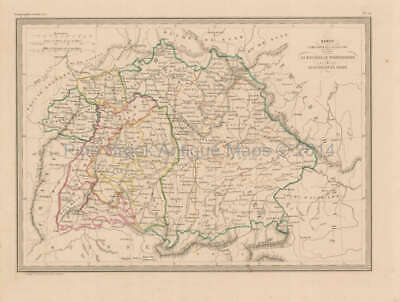 Southern Germany Antique Map Malte Brun 1850 Original