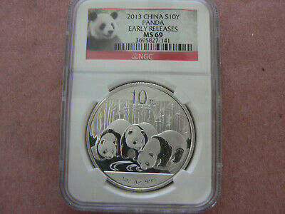 Silver Coin 2013 China Panda Early Releases $10 Yuan NGC MS69 1 Ounce