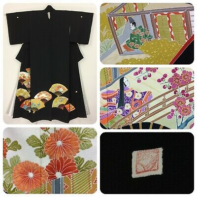 Japanese women's tomesode kimono, NEW, medium, fans, silk, Japan import (H2469)