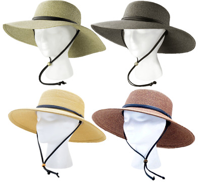 de6000e2 SLOGGERS Wide Brim Braided Sun Hat with Wind Lanyard UPF 50+ - Multiple  Colors