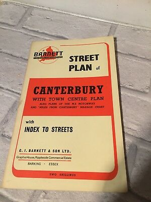 Vintage Old Official Street Plan Map Index To Streets CANTERBURY By Barnett