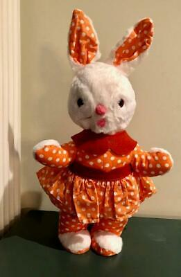 VINTAGE Collectible IDEAL STUFFED PLUSH dressed GIRL BUNNY RABBIT w Tag Easter